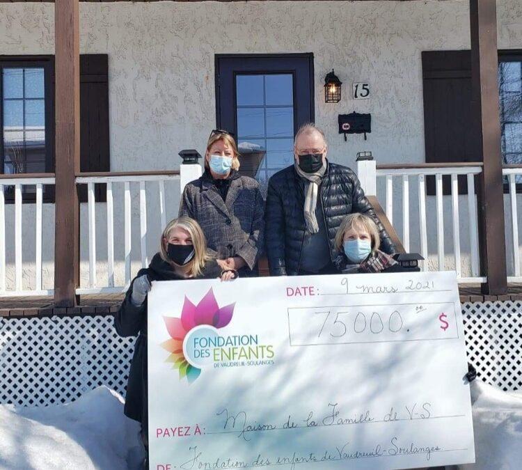 La Fondation des enfants de Vaudreuil-Soulanges, partenaire de la Maison de la Famille, offre un don généreux de 75 000$!
